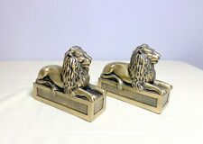 Pair Brass Plated Metal Lions Filled Bookends