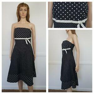 ❤️NEW LOOK black spotted dotty sleeveless cotton skater dress size 12 1348