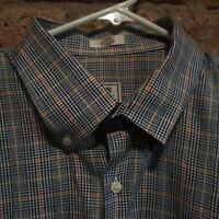 PETER MILLAR Mens Shirt Long Sleeve Button Collar Blue White Orange Plaid Large