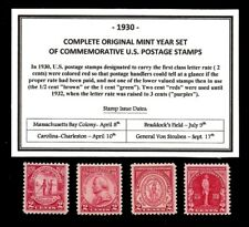1930 COMPLETE COMMEMORATIVE YEAR SET OF MINT -MNH- VINTAGE U.S. POSTAGE STAMPS