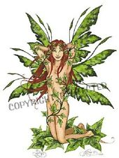 Amy Brown Print Ivy Vines 1999 Fairy Faery Green Fantasy Art Nude Wall Decor new