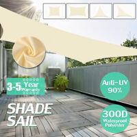 300D Sun Shade Sail Garden Canopy Patio Cover Awning UV Triangle Beige Block B