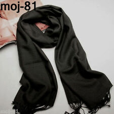 Men's Cashmere Solid Color Pashmina Black Scarves Tassels Long Warm Neck Scarf