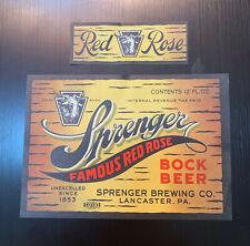 Sprenger Famous Red Rose Bock Beer Label / Irtp / Early 1930'S