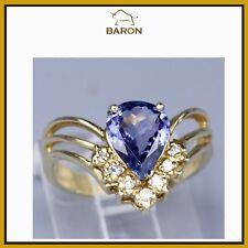 ESTATE TANZANITE RING estate 14K GOLD & DIAMONDS COCKTAIL ring SIZE 5.5 (yx2)