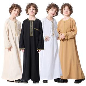Muslim Boy Jubba Thobe Arab Islamic Middle East Teen Zipper Long Sleeve Robe New