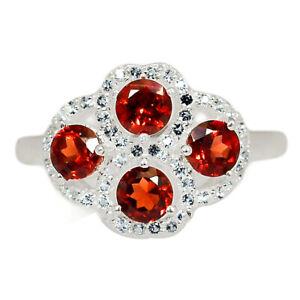 Garnet & White Topaz 925 Sterling Silver Ring Jewelry s.9 BR57987