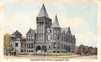 Logansport Indiana~High School Corner~Horse & Buggy~1907 Postcard