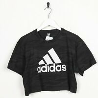 Vintage Women's ADIDAS Big Logo Cropped T Shirt Tee Black | Medium M