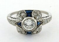 Art Deco 2.77 Ct Round Cut Diamond Vintage Antique Ring 925 Sterling Silver