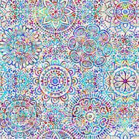 Fabric Zanzibar Mandalas on White Cotton QT 1/4 Yard 7403-E