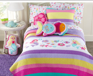 Lilah Mermaid Embroidered Cotton Quilt Set, Bedspread, Coverlet