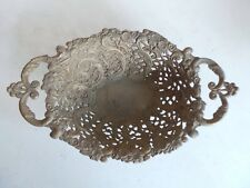 Vintage Old  Ornate Oval Pierced Filigree Cast Brass Bowl Whatnot Storage Basket