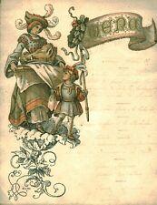 Menu ancien 1877 au dos Madame Lozé