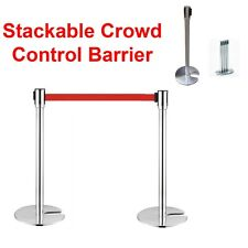 2 Crowd Control Stanchions Stand Queue Line Post Barrier Retractable Belt Red
