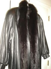 WOW ! CALF SKIN LEATHER COAT WITH SNAKE TRIM VERY SOFT LUXIOURIOUS FEEL