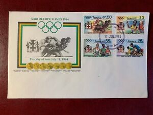 JAMAICA 1984 FDC OLYMPIC GAMES RELAY RACE RUNNING CYCLING