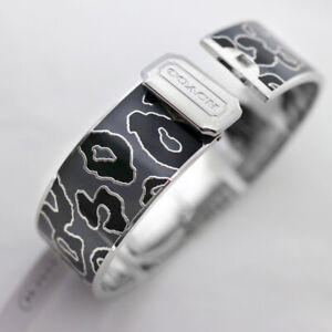 "NWT COACH 3/4"" Ocelot Leopard Black/Gray Hinged BANGLE Bracelet 99528 NEW"