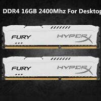 For Kingston HyperX 16GB 32GB 64GB DDR4 2400MHz PC4-19200 Desktop Memory White