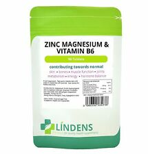 Zinc, Magnesium & Vitamin B6 - 90 tablets skin, joint, hormone, energy (LINDENS)