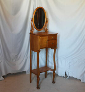 Antique Oak Art Nouveau Style Shaving Stand