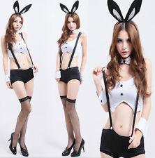 Adult Lady Women Bunny Rabbit Uniform Costume Halloween Fashion Outfit Dress Set