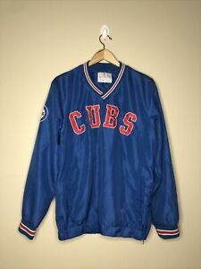 Chicago Cubs Blue MLB Carl Banks Windbreaker Spellout Size M Pullover
