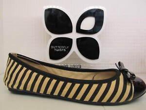 Butterfly Twists Twist Cara Black Tan Beige Stripe Bow Fold Up Ballerina Shoe