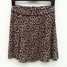 "NWOT NEXT Leopard Flippy Skirt Size UK 6 Length 18.5"" Leather Detail"