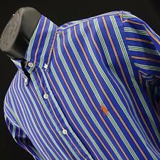 Mens Polo Ralph Lauren Blue Classic Fit Striped Golf Dress Shirt Size Medium M