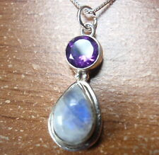 Moonstone Faceted Amethyst Pendant 925 Sterling Silver Corona Sun Jewelry c82j