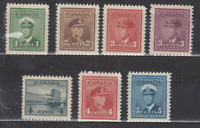 1942 #249 to #255 1¢ TO 5¢ SEVEN(7) KING GEORGE VI WAR ISSUE STAMPS F-VF