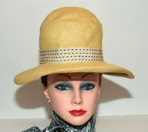 Vintage Beige Straw w Black Stiches on Hatband Womens Wide Brim Sun Hat Size XS