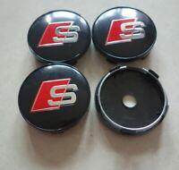 4pcs 60 mm for AUDI S LINE Black Emblem Alloy Wheel Center Caps Hub Caps Rim Cap