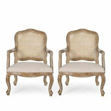 Biorn French Country Wood and Cane Upholstered Dining Armchair