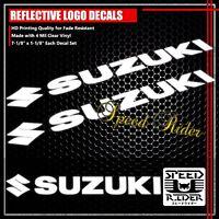 """7"""" LEFT+RIGHT FAIRING/FUEL TANK STICKER REFLECTIVE VINYL LOGO DECAL SUZUKI WHITE"""