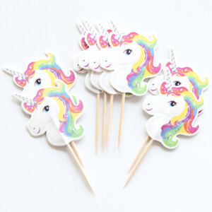 12pc Unicorn Cake Picks Cupcake Toppers Flags Happy Birthday Cute Pink