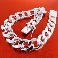 Mens Curb Bracelet Real 925 Sterling Silver S/F Solid Cuban Link 20cm  8inches