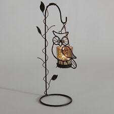 OWL TEA LIGHT HOLDER FREE STANDING NIGHT HOME GARDEN CANDLE DECORATIVE