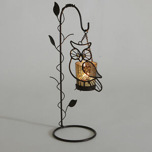 OWL TEA LIGHT HOLDER FREE STANDING NIGHT HOME GARDEN CANDLE DECORATIVE OWLS