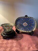 A Chinese Cloisonne Enamelled Oval Dish & A Plique A Jour Bowl