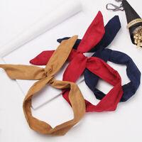 Women Girls Sweet Wide Ribbon Headband Big Bow Tie Rabbit Ear Hair Band Headwear