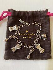 Kate Spade Women's Silver Metallic Bow Mini Charm Bracelet Pouch Chain Link