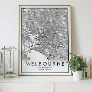 Melbourne City Lines Map Wall Art Poster Print. Great Home Decor