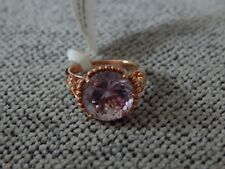 ROSE DE FRANCE AMYTHYST AND WHITE ZIRCON RING-SIZE L-6.00 CARATS-WITH ROSE GOLD