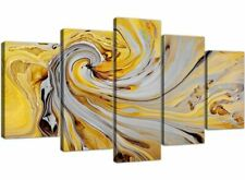XL Mustard Yellow and Grey Spiral Swirl - Abstract Canvas Multi 5 Panel - 5290