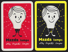 2 Single VINTAGE Swap/Playing Cards ADV MAZDA LAMPS LIGHT BULB MEN Red/Black