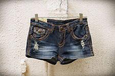 MACHINE Size 30 Destroyed Flaps Wide Stitch Hot Mini Denim Short Shorts