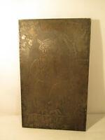 Große Buchdrucker Blei Druckplatte Bleiklischee Stempel Eule um 1900