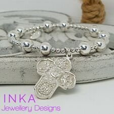 Inka 925 Sterling Silver 8mm CHUNKY bead Stacking Bracelet Large Cross charm